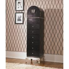 See Details - Upholstered Swivel Chiffonier Lingerie Chest Living Room Storage Cabinet