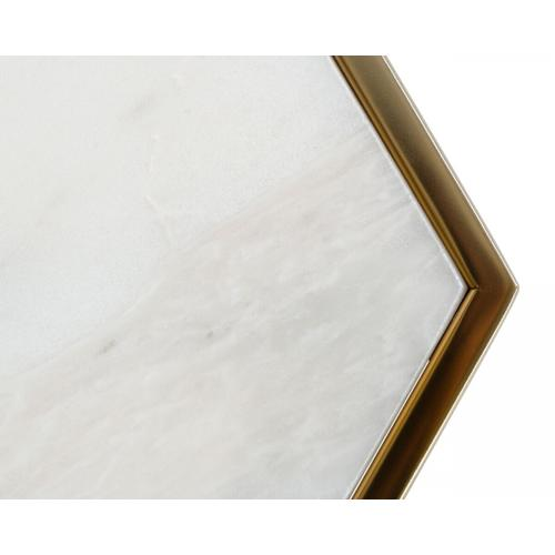 VIG Furniture - Modrest Drexal - Glam White Marble and Brass End Table
