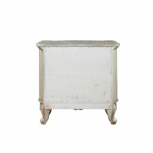 ACME Gorsedd Nightstand w/Marble Top - 27443 - Marble & Antique White