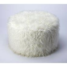 Perfect as a footstool or for some spare seating in a bedroom, this versatile ottoman puts the fun in fuction and style. Its faux fur upholstery is a shaggy look that adds texture to your room's decor, while its white hue ensures it complements an array o