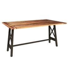 See Details - Flip-Top Console/Desk with X Base - Natural/Black Metal Finish