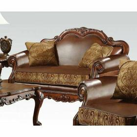 ACME Dresden Loveseat w/2 Pillows - 15161 - Brown PU & Chenille - Cherry Oak
