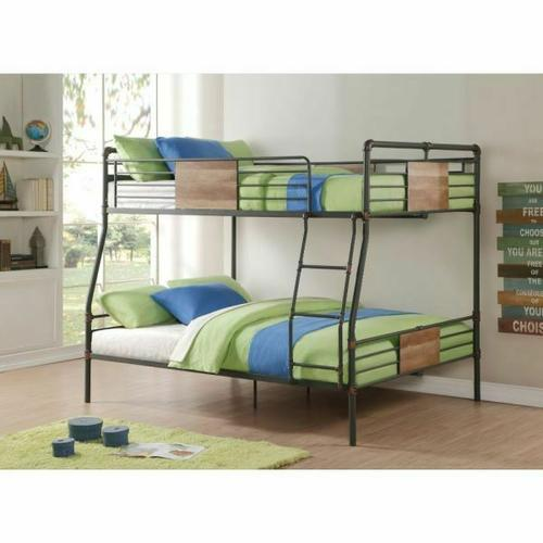 ACME Brantley Full XL/Queen Bunk Bed - 37725 - Sandy Black & Dark Bronze Hand-Brushed
