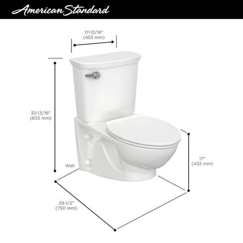 Glenwall VorMax Wall-Hung Toilet with Right Hand Trip Lever  American Standard - White