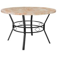 "47"" Round Dining Table in Quartz Marble-Like Finish"