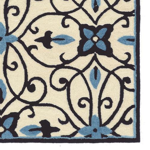 Trio Cream Blues Cream Silk1ft10in X 2ft