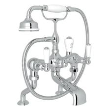 Edwardian Exposed Deck Mount Tub Filler with Handshower - Polished Chrome with Metal Lever Handle