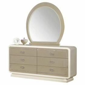 ACME Allendale Mirror - 20194 - Ivory & Latte High Gloss