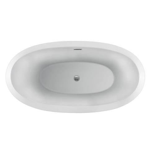"Naomi 67"" Acrylic Double Slipper Tub with Integral Drain and Overflow - Matte Black Drain and Overflow"