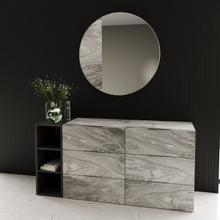 View Product - Nova Domus Maranello - Modern Grey Wash & Faux Marble Dresser