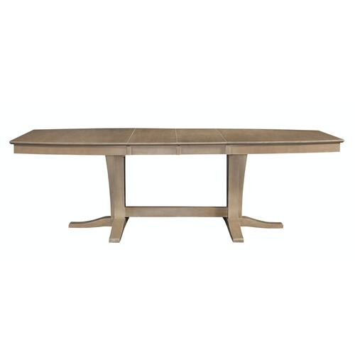 Milano Double Pedestal Extension Table in Taupe Gray