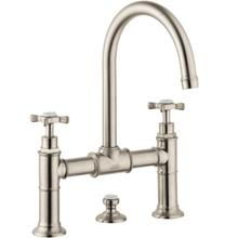 Brushed Nickel 2-Handle Faucet 220 with Cross Handles and Pop-Up Drain, 1.2 GPM