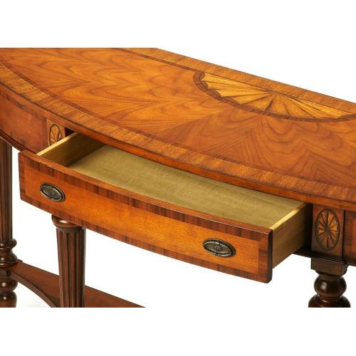 Butler Specialty Company - Selected solid woods and choice veneers. Inlaid top, drawer fronts and apron with anegre, rosewood, myrtle burl and crown cherry veneers. Drawer with antique brass finished hardware.