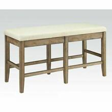 ACME Claudia Counter Height Bench - 71723 - Beige Linen & Salvage Brown