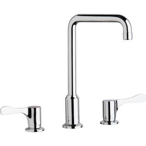 "Elkay 8"" Centerset Concealed Deck Mount Faucet with Arc Tube Spout and 4"" Lever Handles Chrome Product Image"