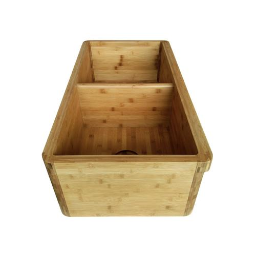 "Oparo 36"" Double Bowl Bamboo Farmer Sink"