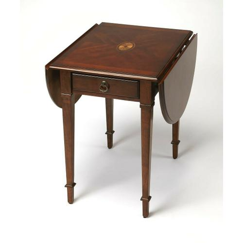 Butler Specialty Company - Thanks to its drop-leaf design, this antique reproduction pembroke table is wonderfully versatile and suitable for both small spaces and larger rooms. Handcrafted from select wood solids and wood products, the top features a maple and walnut veneer linen-fold inlay design set within matched cherry veneers, and matched cherry veneer leaves. Includes one drawer with antique brass finished hardware.