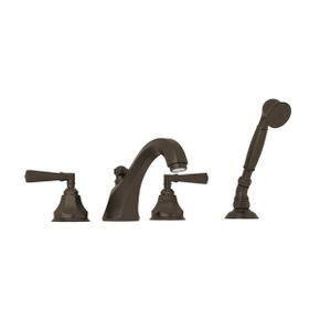 Palladian 4-Hole Deck Mount Tub Filler with Handshower - Tuscan Brass with Metal Lever Handle