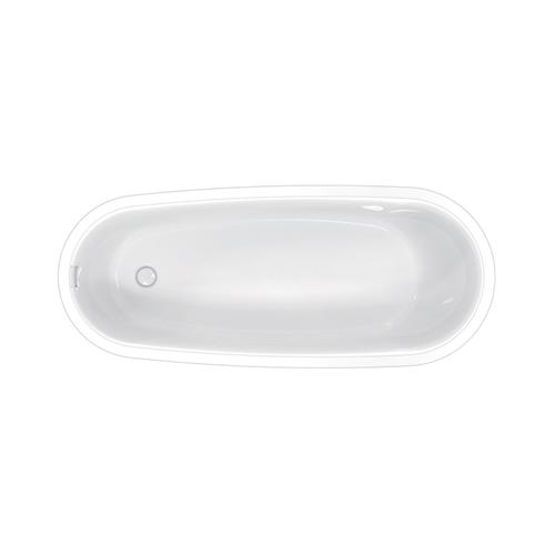 """Product Image - Lyndell 67"""" Acrylic Slipper Tub with Integral Drain and Overflow - Brushed Nickel Drain and Overflow"""