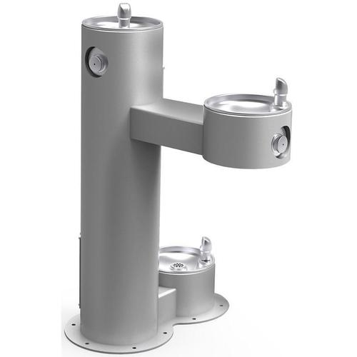 Elkay - Elkay Outdoor Fountain Bi-Level Pedestal with Pet Station, Non-Filtered Non-Refrigerated, Freeze Resistant, Gray