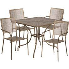 35.5'' Square Gold Indoor-Outdoor Steel Patio Table Set with 4 Square Back Chairs