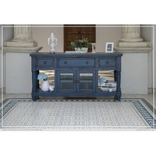 "70"" TV Stand, w/3 Drawers & 2 Doors, in Dark Blue Finish"