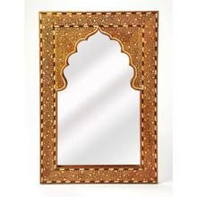 "This rectangular wall mirror is an extraordinary feat of craftsmanship. Its wondrous botanical design with a mihrab inset frame is painstakingly created inlaying bone "" within a merranti wood frame "" one individual piece at a time. Its hand rubbed finish will elegantly blend with virtually any style while imparting a touch of bohemian chic to a living room, hallway or entryway."