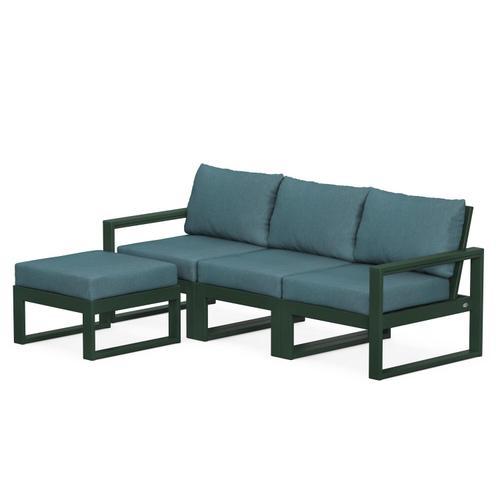 Polywood Furnishings - EDGE 4-Piece Modular Deep Seating Set with Ottoman in Green / Ocean Teal