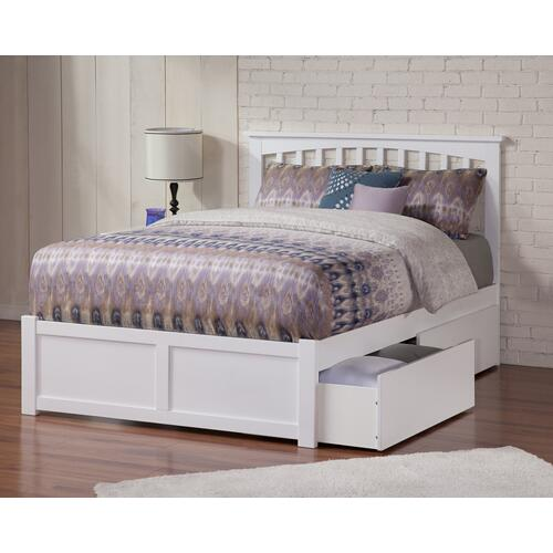 Mission Full Flat Panel Foot Board with 2 Urban Bed Drawers White
