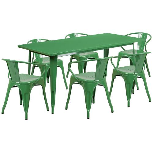 31.5'' x 63'' Rectangular Green Metal Indoor-Outdoor Table Set with 6 Arm Chairs