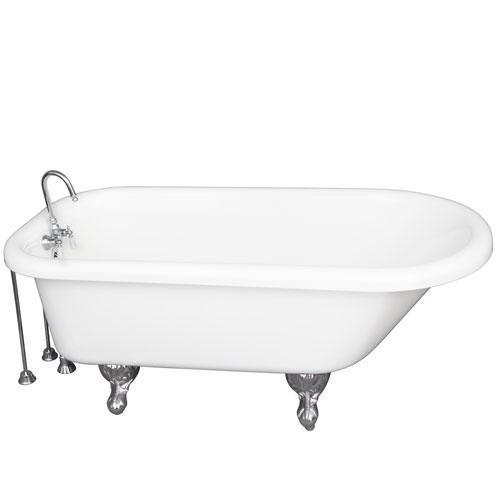 """Asia 67"""" Acrylic Roll Top Tub Kit in White - Polished Chrome Accessories"""