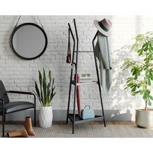 Black Metal Coat Tree with Shelves