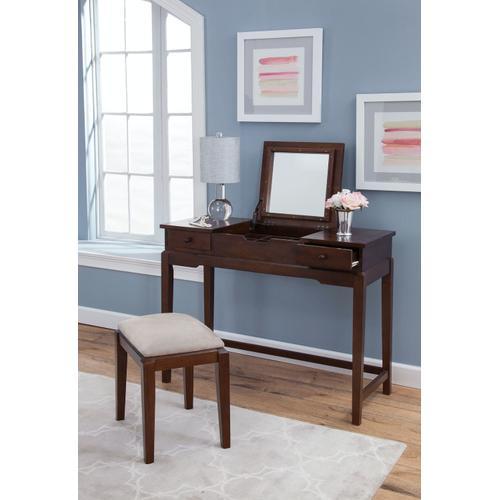 Gallery - Upholstered Vanity Bench in Espresso