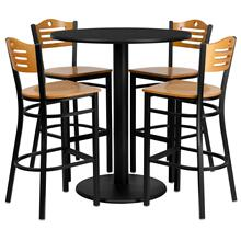 36'' Round Black Laminate Table Set with 4 Wood Slat Back Metal Barstools - Natural Wood Seat