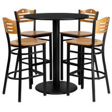 See Details - 36'' Round Black Laminate Table Set with 4 Wood Slat Back Metal Barstools - Natural Wood Seat