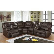 See Details - Belmont Sectional (with Power Recliner Sofa), Brown