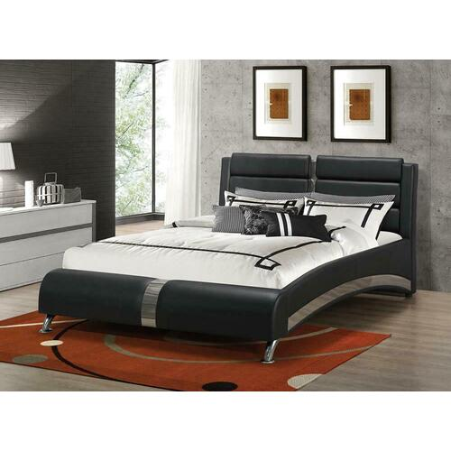 Havering Contemporary Black and White Upholstered Eastern King Bed