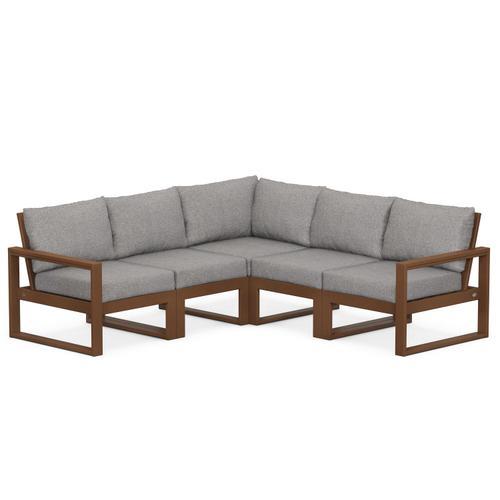 Polywood Furnishings - EDGE 5-Piece Modular Deep Seating Set in Teak / Grey Mist