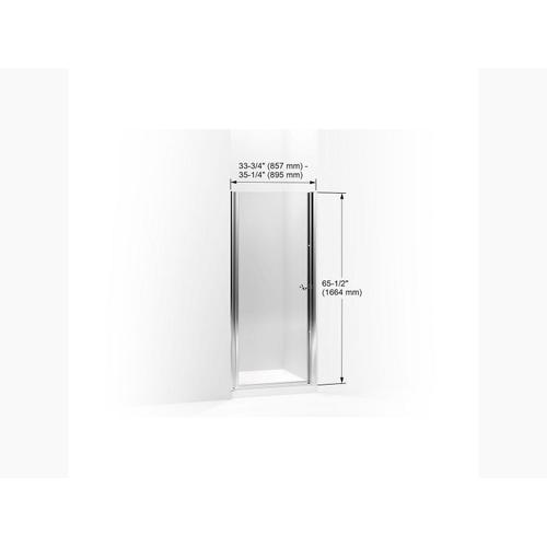 """Crystal Clear Glass With Anodized Brushed Bronze Frame Pivot Shower Door, 65-1/2"""" H X 33-3/4 - 35-1/4"""" W, With 1/4"""" Thick Crystal Clear Glass"""