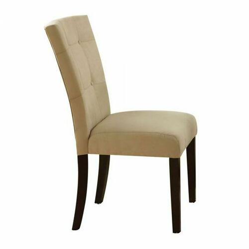 ACME Baldwin Side Chair (Set-2) - 16837 - Beige Microfiber & Walnut