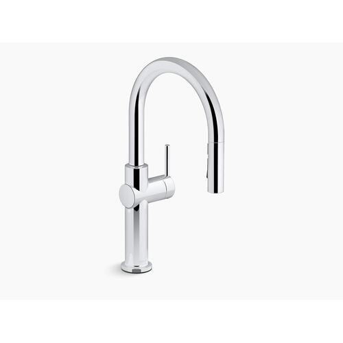 Vibrant Stainless Pull-down Single-handle Kitchen Faucet
