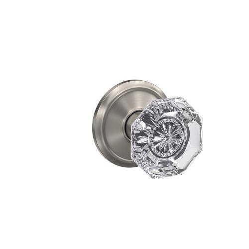 Custom Alexandria Glass Knob with Alden Trim Hall-Closet and Bed-Bath Lock - Satin Nickel