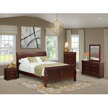 West Furniture Louis Philippe 5 Piece Queen Size Bedroom Set in Phillip Walnut Finish with Queen Bed,Nightstand ,Dresser, Mirror,Chest