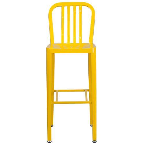 30'' High Yellow Metal Indoor-Outdoor Barstool with Vertical Slat Back