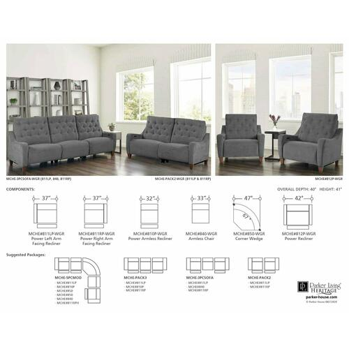 Parker House - CHELSEA - WILLOW GREY Power Recliner