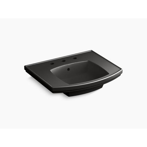 "Black Black Pedestal Bathroom Sink With 8"" Centerset Faucet Holes"