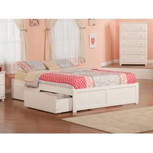 Concord Queen Flat Panel Foot Board with 2 Urban Bed Drawers White