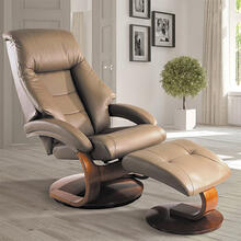 Mandal Recliner & Ottoman in Sand Top Grain Leather