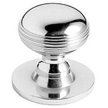 "Satin Chrome Cupboard knob, 1 1/4"" diameter"