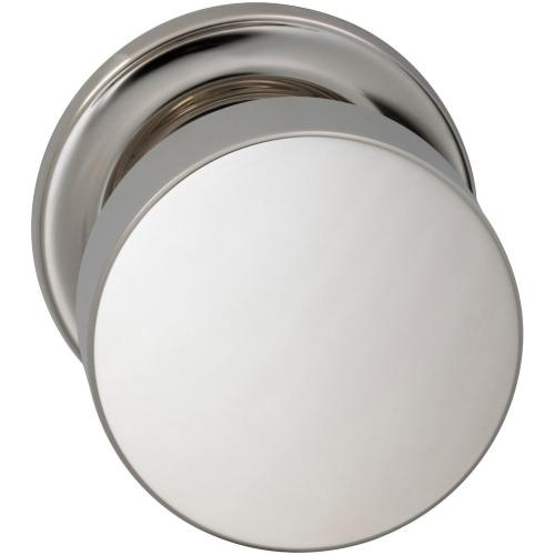 Interior Modern Knob Latchset with Traditional Round Rose in (US14 Polished Nickel Plated, Lacquered)
